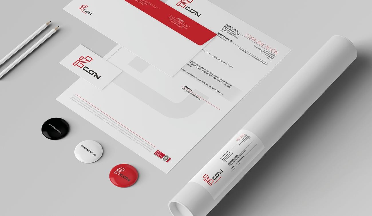 Branding papelería y otros elementos graficos diseñados para Izcon